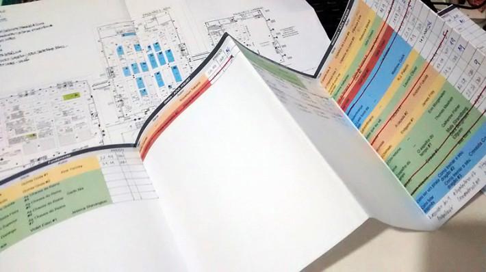 Mapa da Bienal e lista de livros desejados